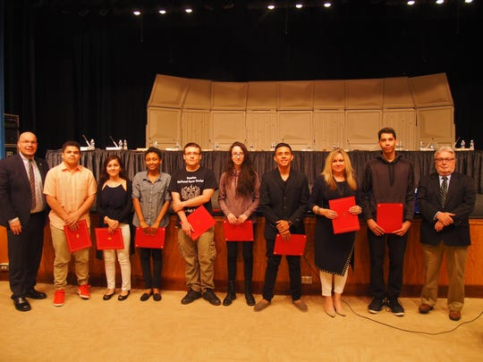 At the April Linden Board of Education meeting, Dr. Danny A. Robertozzi, Board of Education member Jack Kolibas and the Linden Board of Education members recognized the Linden High School students of Russian.