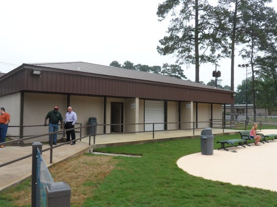 A bathhouse is located by the splash pad at Kees Park in Pineville. The bathhouse, which was left over from when there was a swimming pool at the site, has been refurbished.