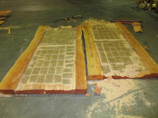 Marijuana packages were found inside hollow table tops at the Santa Teresa border crossing.