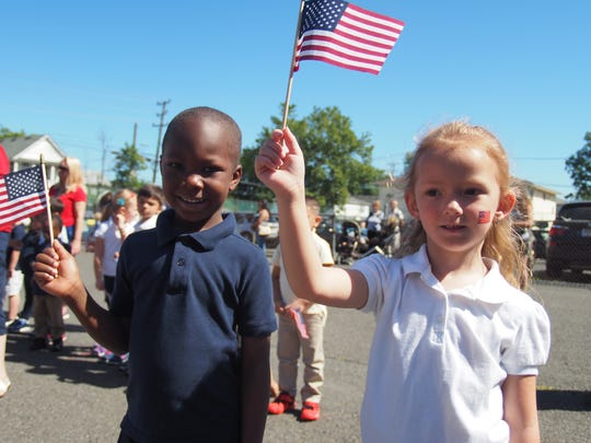 Linden School No. 6 and all of Linden Public Schools celebrated Flag Day on June 14.  On June 14, 1777, the Second Continental Congress, meeting in Philadelphia, passed the Flag Act of 1777, a resolution creating an official flag for a new nation still struggling to gain its independence from Britain. Among those proudly waving flags were School No. 6 Pre- K students Mekhi Paylor and Madeline Ott.