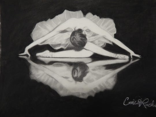 """Dance-inspired creations, such as this painting by Carrie Roebuck, are on exhibit in """"The Art of Dance."""""""