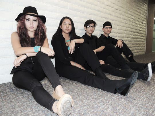 Alexandria Holiday, left, Sydney Chapman, Dayton Singer and Cobren Sells are featured in the band Sacred Sound, along with Cameron Abeyta, who is not pictured.