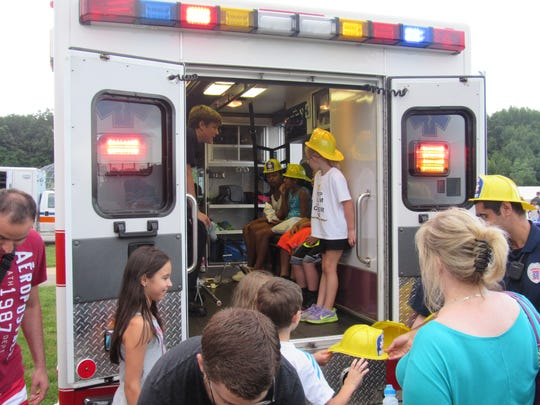 EMS showed off its apparatus at Tuesday's National Night Out in South Brunswick.