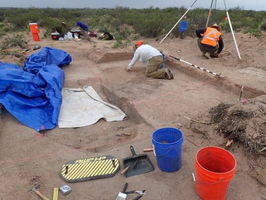 The archaeological team led by William Whitehead worked to uncover the remnants of an ancient dwelling in Eddy County.