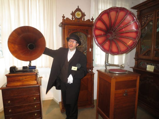 Siegfried's Mechanical Music Cabinet in Rudesheim, Germany, houses several oversize, wind-up gramophones that play 78-rpm vinyl records.