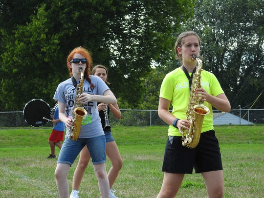 Saxophonists Sarah Heading and Christa Lain, from left,