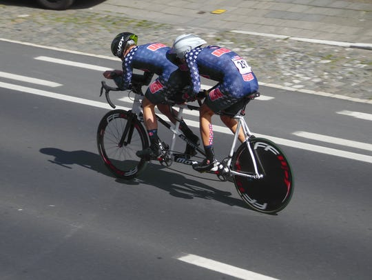 The race is on as Ben Collins (front) and Aaron Scheidies
