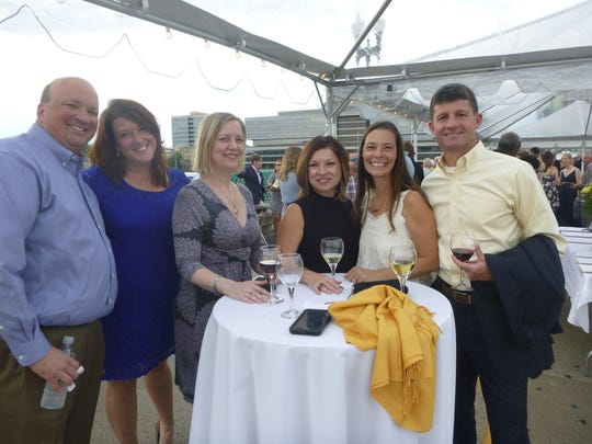 : Brad Anders with Erin Donovan, Becky Hancock, Angie Wilson and Gina and David Brace at Knoxville's 225th birthday celebration.