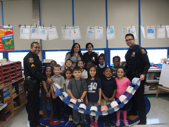 The School No. 10 first grade Citizen Chain represents how we are all connected in the community. We all work together to be good citizens and great leaders. School No. 10 thanks the officers of Linden for visiting and learning with us. Thank you for keeping us safe.