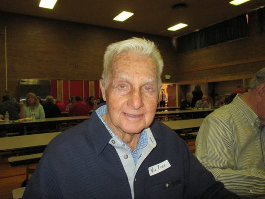 Santa Clara resident Victor Frei, a teacher at East Elementary during its first year six decades ago, gathers with other former employees of the school Friday for a final reunion and open house at the oldest operating elementary in Washington County. The school grounds will transfer to Dixie State University and the students and staff will move to Legacy Elementary, probably in February.