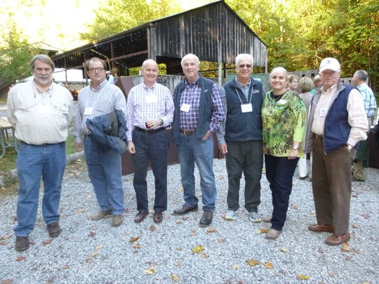 At the Tremont Homecoming Celebration are Jack Burgin, Joe Emert, Tom Bogart, Hank Dye, Chuck James, president and CEO Jen Jones and Bill Cobble.