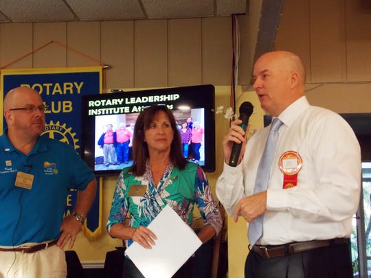 New member Mark Rendell with membership Chair Robin Pelensky and President Kevin Anderson.