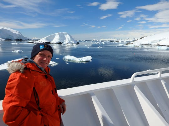 Geneseo Middle School teacher Randy French sailing near Antarctica.