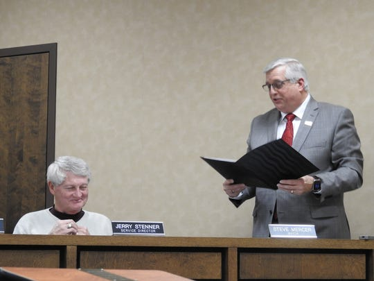 """Coshocton Mayor Steve Mercer gave a """"shout out"""" to Safety-Service Director Jerry Stenner during his State of the City Address this week. Stenner is retiring in May after serving 12 years in his post under two mayors."""