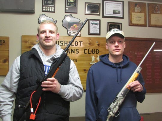 The top two winners of the raffle at the Mishicot Sportsmen's