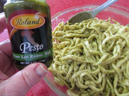Seasoned with olive oil and green pesto, Susan Manzke's