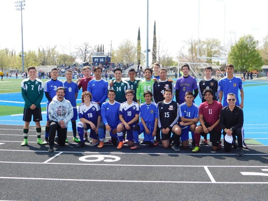 The Northern Section boys North All-Star soccer team poses before beating the South 2-1 Saturday at Pleasant Valley High School in Chico.
