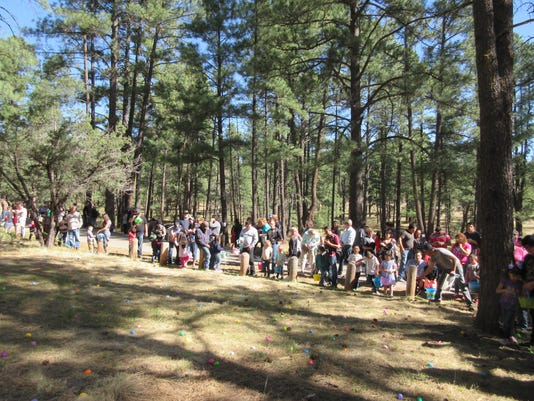the crowd at easter egg hunt