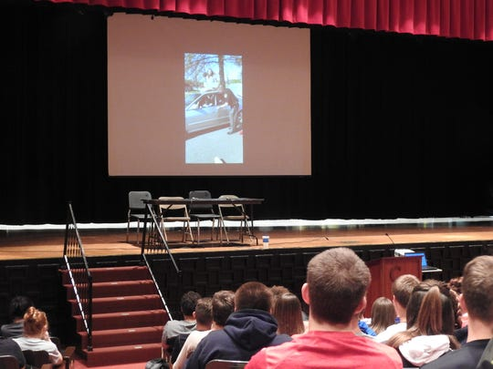 During an assembly Monday, Coshocton High School students watched a video created by classmates that warns about the consequences of driving impaired.