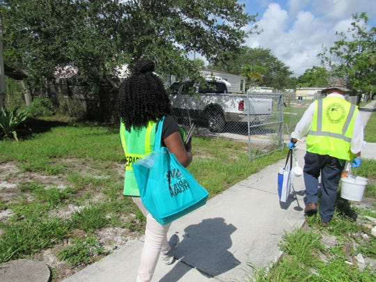 Teams from the Florida Department of Health and Martin County Mosquito Control provide door to door outreach and education in Rio.