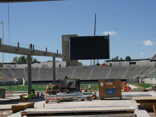 The scoreboard at the south end of CSU's new on-campus