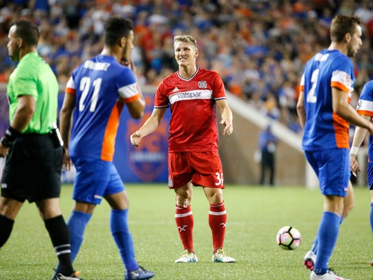 Chicago Fire FC midfielder Bastian Schweinseiger (31) reacts as a fouled is called on him in the second half during the Lamar Hunt US Open Cup match between the Chicago Fire and FC Cincinnati, Wednesday, June 28, 2017, at Nippert Stadium in Cincinnati.