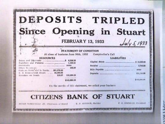 A 1933 news clip showing the growth of Citizens Bank's