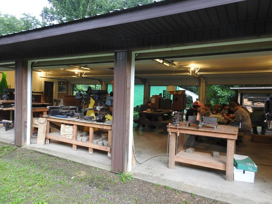 Handcrafts is just one station at the Muskingum Valley Scout Reservation. Campers can make items out of wood and melted lead, among other materials.