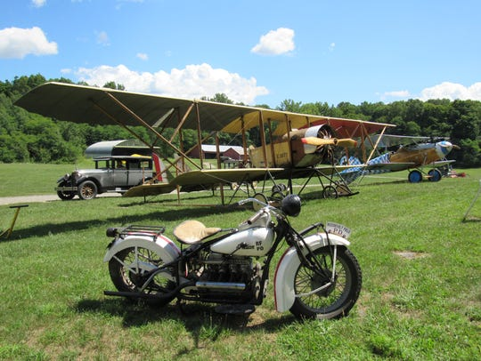 A 1934 Indian Motorcycle is shown at the Aerodrome