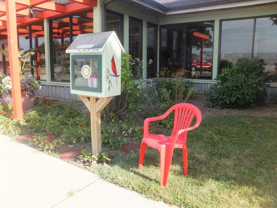 The Little Free Library at Roorbach's Flower Shop at 29th and Custer streets, Manitowoc.