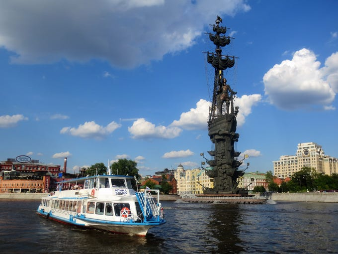 Peter the Great statue overlooking the Moskva River