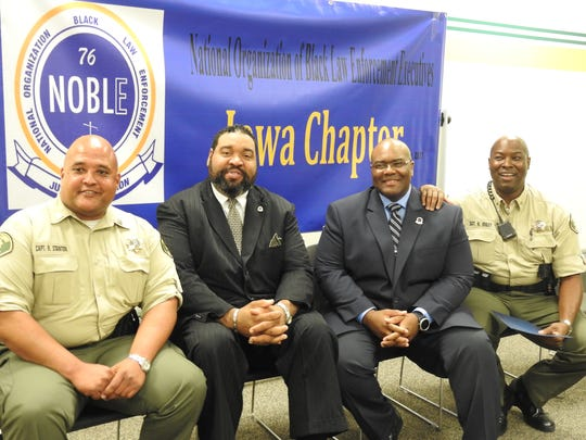 Leaders of the Iowa chapter of the National Organization of Black Law Enforcement Executives, which started in 2017. Pictured from left to right: Polk County Sheriff's Capt. Robert Stanton, Iowa NOBLE chapter president; Iowa Fifth Judicial District Assistant Director Art Rabon, chapter vice president; Polk County Sheriff's Sgt. Amos Holt, chapter treasurer, and Polk County Sheriff's Sgt. Keith Onley, chapter secretary.