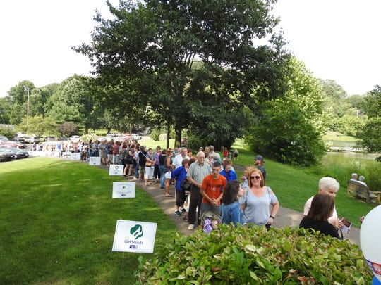 A long line of people waited to get into Taste of Coshocton Thursday at Lake Park Pavilion. The annual kick-off event for the United Way of Coshocton County usually draws more than 500 people.