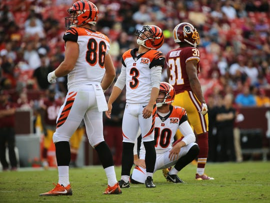 Cincinnati Bengals kicker Jake Elliott (3) reacts after missing a field goal in the third quarter during the Week 3 NFL preseason game between the Cincinnati Bengals and Washington, Sunday, Aug. 27, 2017, at FedEx Field in Landover, Maryland.