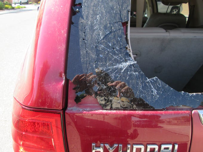 One of the 16 damaged vehicles.