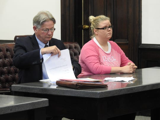 Attorney Jeffrey Kellogg represented Destiny Newell Wednesday in Coshocton County Common Pleas Court Wednesday on charges relating to a February vandalism spree involving her husband and a friend.