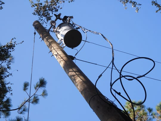 Power pole and electrical transformer were replaced