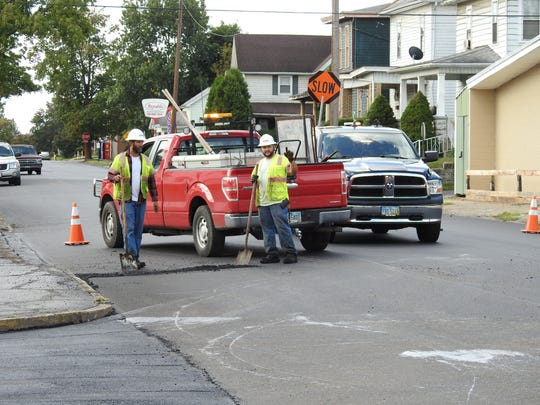 The Shelly Co. recently did paving work at Seventh and Elm streets as part of the city's resurfacing projects.