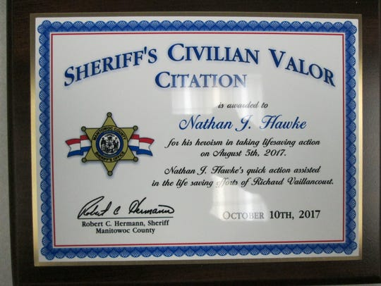 Nathan Hawke, 10, of Two Rivers, was recently honored