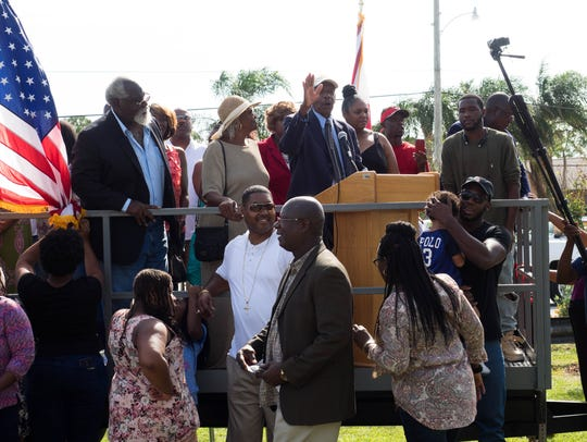 Victor Hart Sr. took the podium at the end of the ceremony,