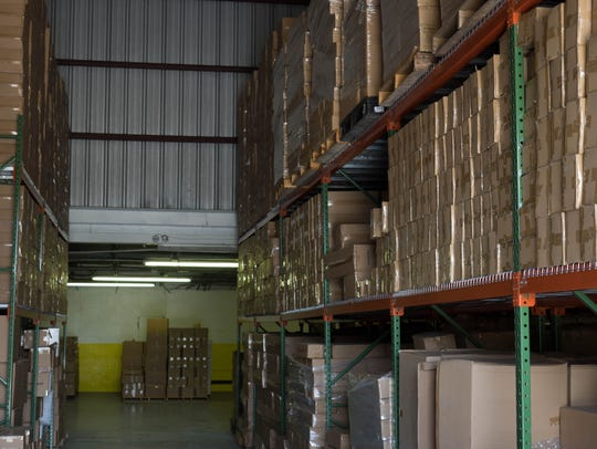 An inventory of nearly 300 products lines the shelves