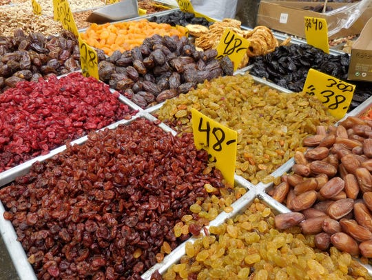 The variety of produce at the open-air food markets in Tel Aviv and Jerusalem is impressive.