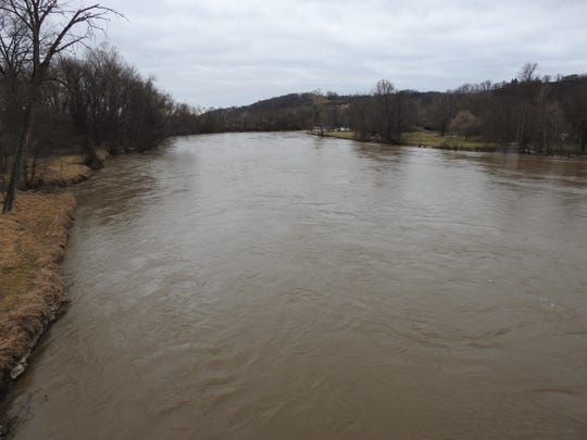 A view of the Muskingum River from the Three Rivers Veterans Bridge in Coshocton.
