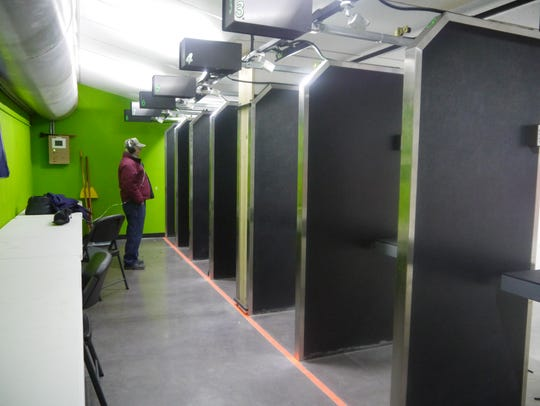 The indoor gun range at Highwood Creek Outfitters allows