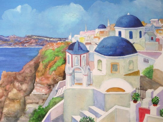 """Santorini"" by Pensacola artist Richard Morrison, 90."