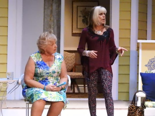 Kathy Reid and Ellen Hardesty rehearse a scene from