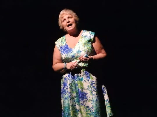 "Kathy Reid directly addresses the audience during a scene of ""The Savannah Sipping Society"" opening this weekend at the Triple Locks Theater."
