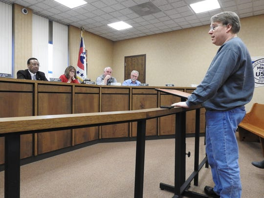 Steve Williams of Center Street addresses Coshocton City Council. Williams said music from Roscoe Village keeps him and his family awake at least two nights a week throughout the summer.