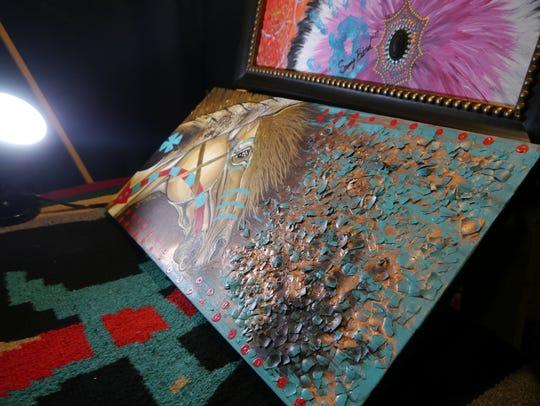 Sammy Jo Bird's art augments acrylics with gold leaf