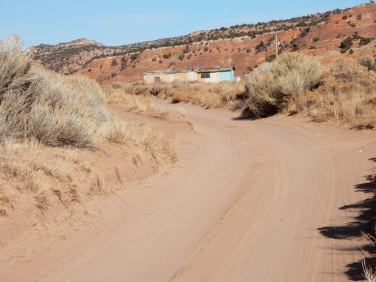 A dirt road in Church Rock on the Navajo Nation.